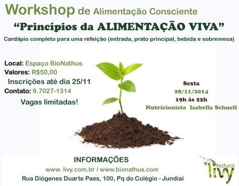 Workshop de Alimentação Consciente Alimentos Vivos